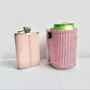 Pink Flask and Striped Coozie